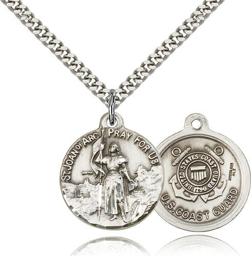 Sterling Silver St. Joan of Arc Coast Guard Medal with Chain Pendant