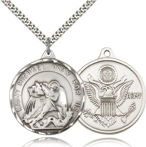 Sterling Silver St. Joseph Army Medal with Chain Pendant