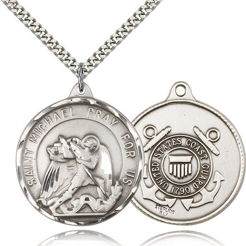 Sterling Silver St. Joseph Coast Guard Medal with Chain Pendant
