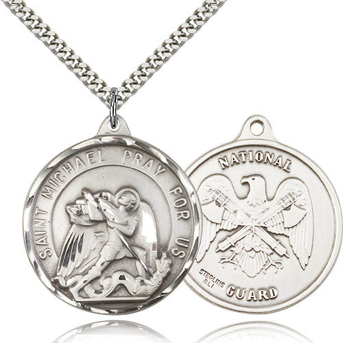 Sterling Silver St. Joseph National Guard Medal with Chain Pendant