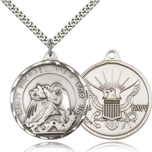 Sterling Silver St. Joseph Navy Medal with Chain Pendant