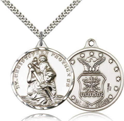 Sterling Silver St. Christopher Air Force Medal with Chain Pendant
