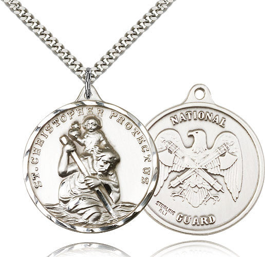 Sterling Silver St. Christopher National Guard Medal with Chain Pendant