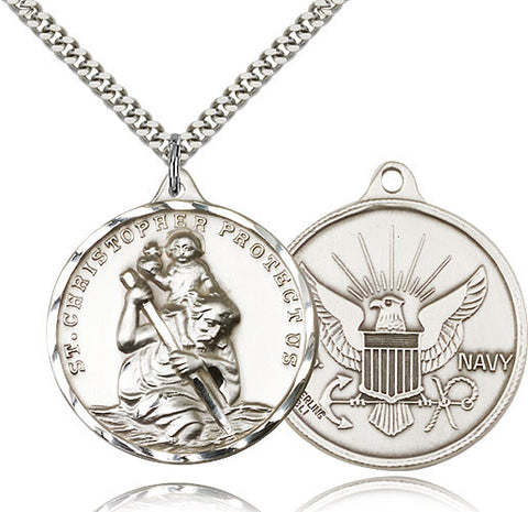 Sterling Silver St. Christopher Navy Medal with Chain Pendant