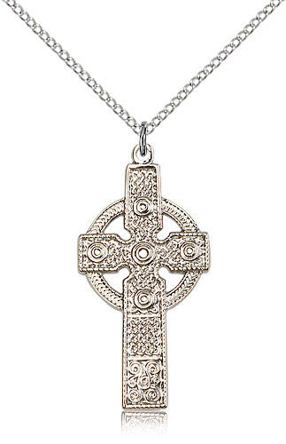 Sterling Silver Kilklispeen Cross Medal with Chain Pendant