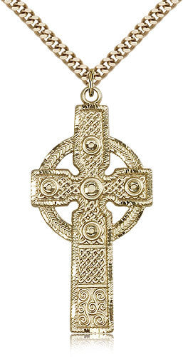 Gold Filled Celtic Cross Medal with Chain Pendant