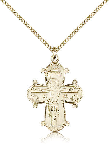 Gold Filled Christine Cross Medal with Chain Pendant