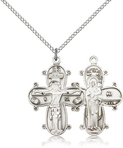 Sterling Silver Christine Cross Medal with Chain Pendant