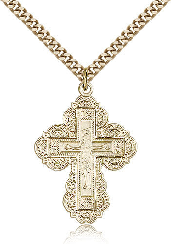 Gold Filled Irene Cross Medal with Chain Pendant