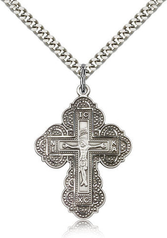 Sterling Silver Irene Cross Pendant Medal with Chain Pendant