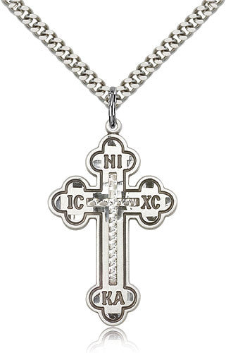 Sterling Silver Cross Medal with Chain Pendant