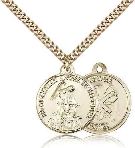 Gold Filled National Guard Guardian Angel Medal with Chain Pendant
