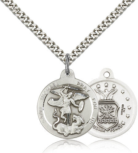 Sterling Silver St. Michael the Archangel Air Force Medal with Chain Pendant