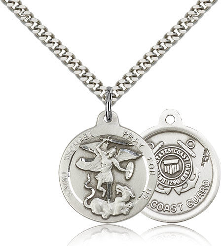 Sterling Silver St. Michael the Archangel CoaSt.Guard Medal with Chain Pendant