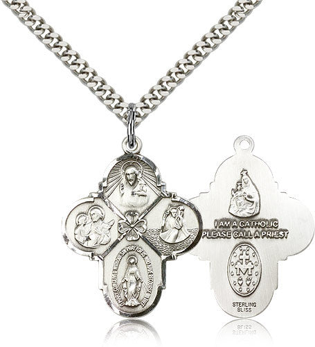 Sterling Silver Four Way Medal with Chain Pendant