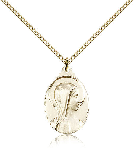 Gold Filled Sorrowful Mother Medal with Chain Pendant