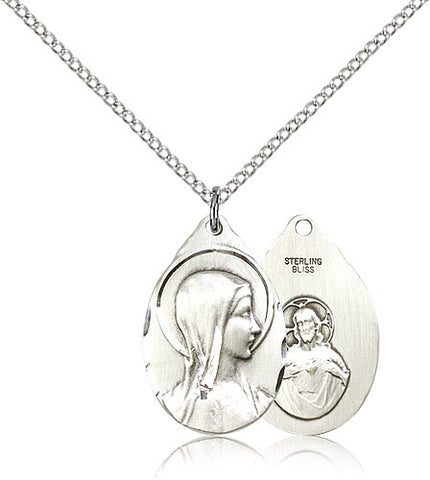 Sterling Silver Sorrowful Mother Pendant Medal with Chain Pendant Medium