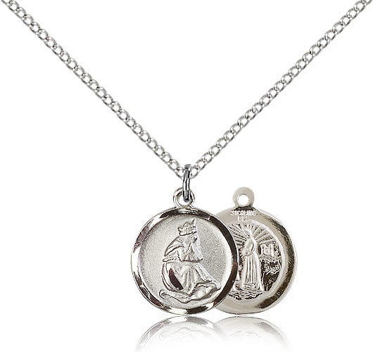 Sterling Silver Our Lady of La Salette Medal with Chain Pendant