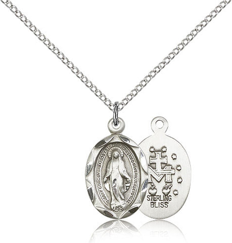 Sterling Silver Miraculous Medal with Chain Pendant