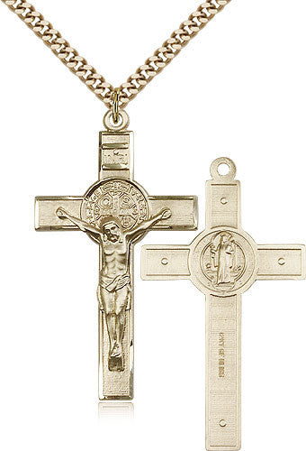 Gold Filled St. Benedict Crucifix Medal with Chain Pendant
