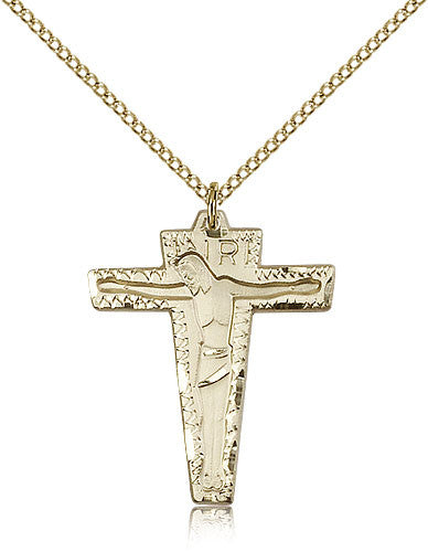 Gold Filled Primative Crucifix Medal with Chain Pendant