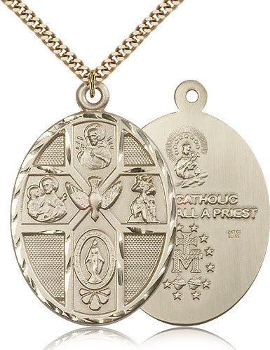 Gold Filled Five Way Medal with Chain Pendant