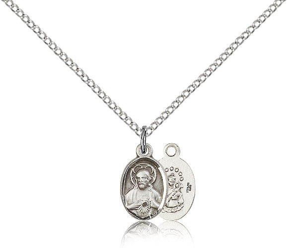 Sterling Silver Scapular Medal with Chain Pendant