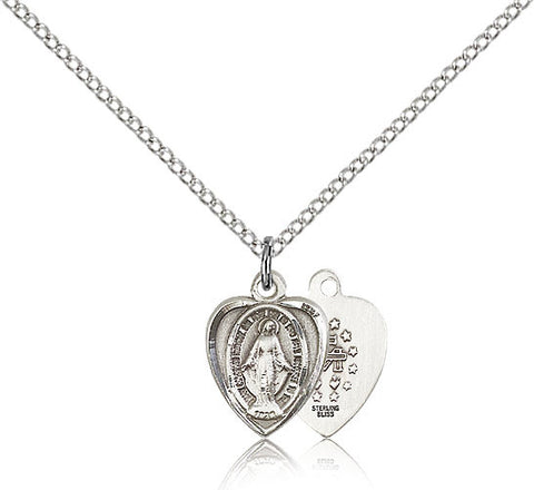 Sterling Silver Miraculous Heart Medal with Chain Pendant