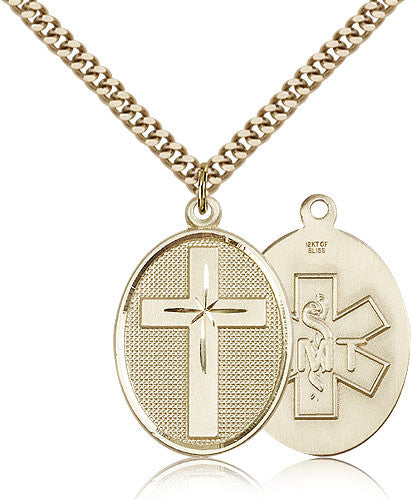 Gold Filled EMT Cross Medal with Chain Pendant
