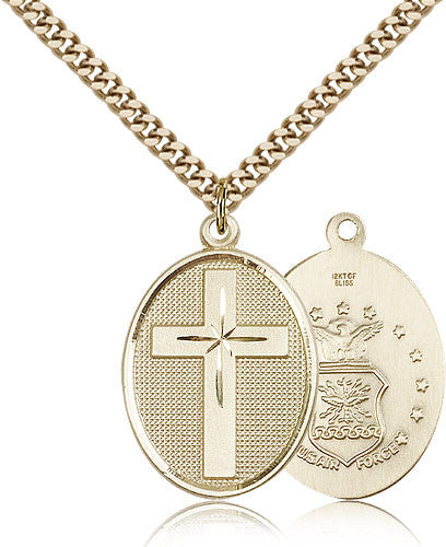 Gold Filled Air Force Cross Medal with Chain Pendant