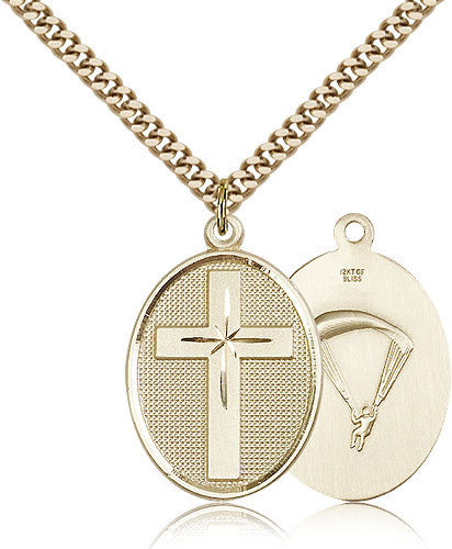 Gold Filled Paratrooper Cross Medal with Chain Pendant