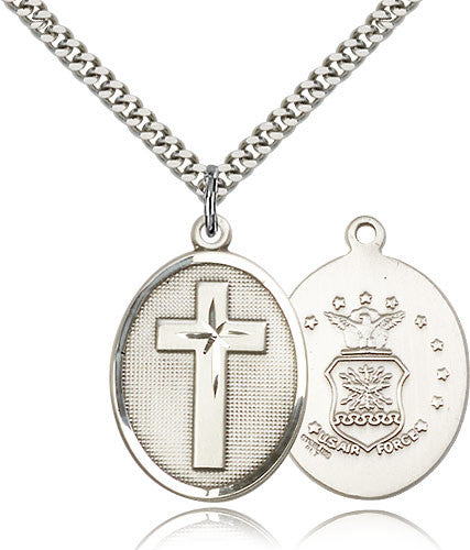Sterling Silver Cross Air Force Medal with Chain Pendant