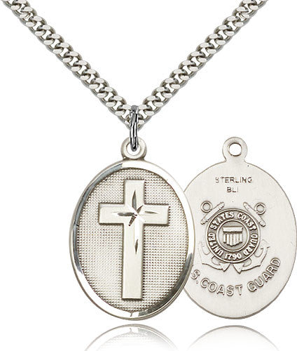 Sterling Silver Cross Coast Guard Medal with Chain Pendant