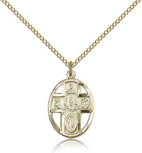 Gold Filled Five Way Chalice Medal with Chain Pendant