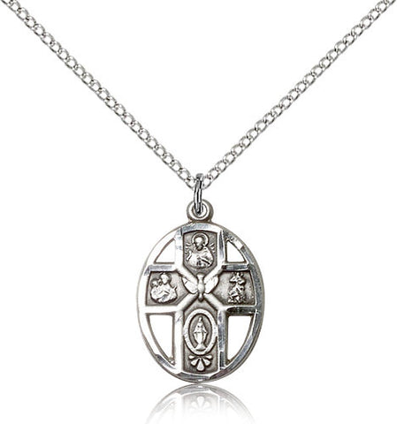 Sterling Silver Five Way Holy Spirit Medal with Chain Pendant