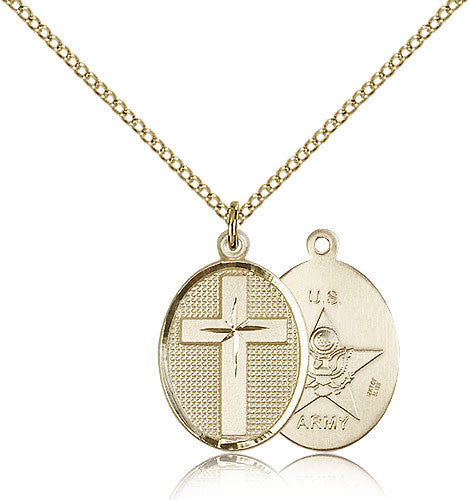 Gold Filled Army Cross Medal with Chain Pendant