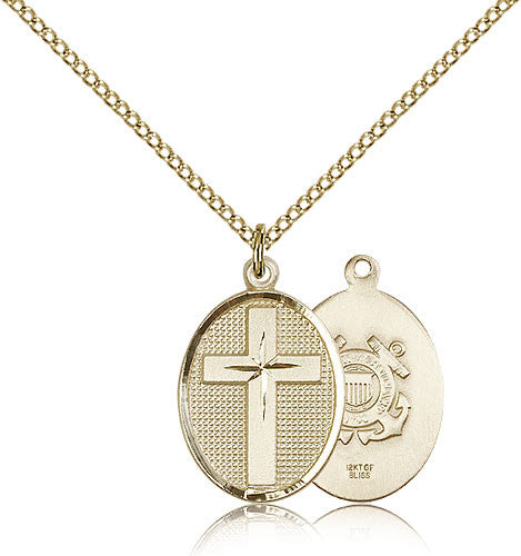Gold Filled Coast Guard Cross Medal with Chain Pendant