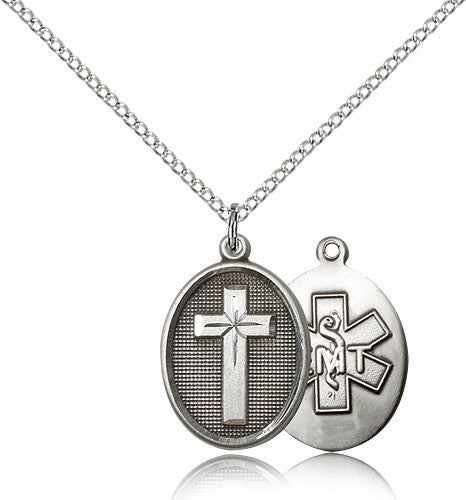 Sterling Silver Cross EMT Medal with Chain Pendant