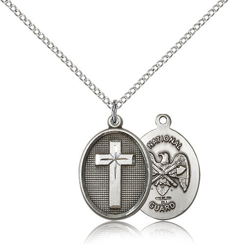 Sterling Silver Cross National Guard Medal with Chain Pendant