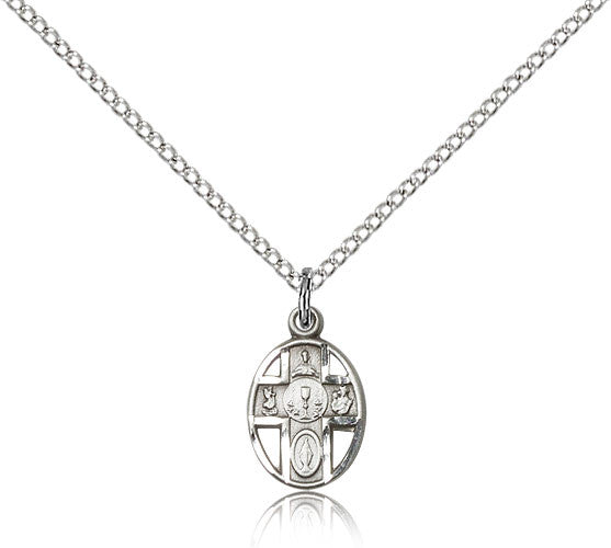 Sterling Silver Five Way Chalice Medal with Chain Pendant