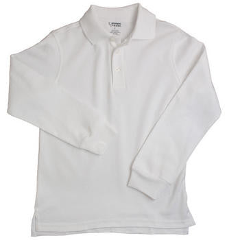 Boys White Long Sleeve Soft Knit Polo