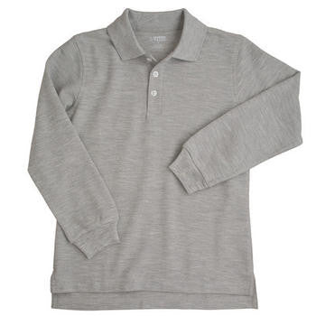 Boys Grey Long Sleeve Pique Knit Polo