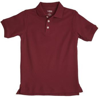 Boys Burgundy Short Sleeve Pique Knit Polo