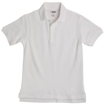 Boys White Short Sleeve Pique Knit Polo