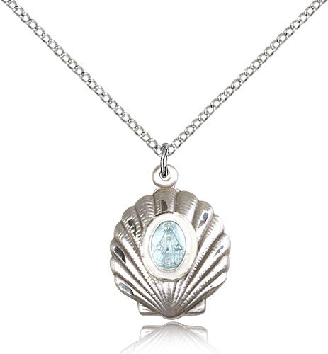 Sterling Silver Miraculous Shell Medal with Chain Pendant