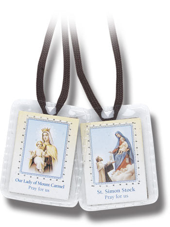 Brown Scapular in Plastic with Brown Cords