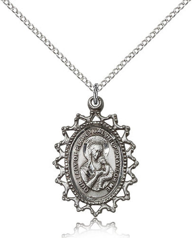 Sterling Silver Our Lady of Perpetual Help Medal with Chain Pendant