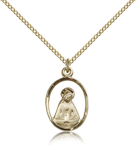 Gold Filled Madonna Medal with Chain Pendant