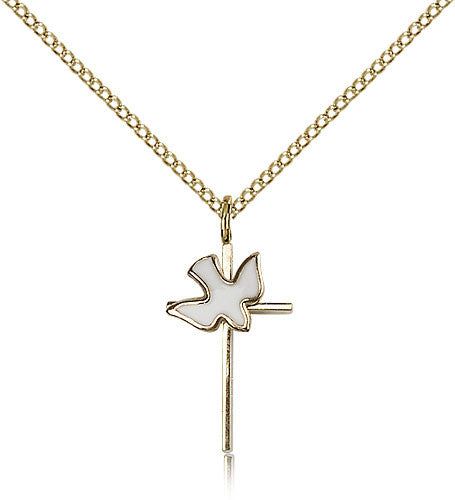 Gold Filled Cross - Holy Spirit Medal with Chain Pendant
