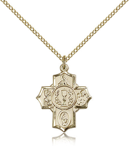 Gold Filled Millennium Crucifix Medal with Chain Pendant